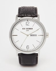 Ben Sherman Portobello Leather Watch In Black Black
