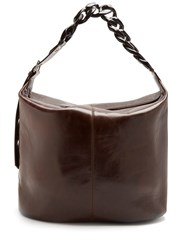 Marques Almeida Oversized Curb Chain Leather Bag Black Brown