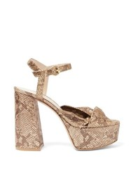Gianvito Rossi Dallas 70 Knotted Python Effect Leather Sandals Gold