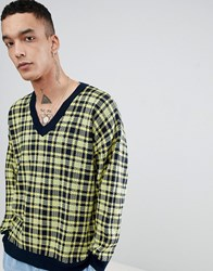 Asos Knitted V Neck Check Jumper In Yellow