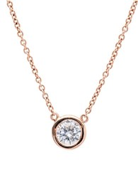 Crislu 18K Rose Gold And Sterling Silver Cubic Zirconia Bezel Necklace