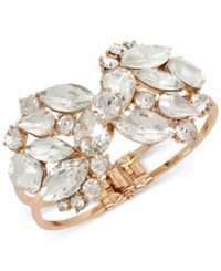 Inc International Concepts Rose Gold Tone Crystal Cluster Hinged Bangle Bracelet Only At Macy's