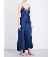 La Perla Maison Embroidered Silk Satin Nightgown Dark Blue