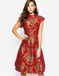 Chi Chi London High Neck Baroque Print Structured Skater Dress Redgold