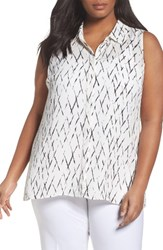 Sejour Plus Size Women's Sleeveless Tunic Blouse Ivory Black Plaid Print