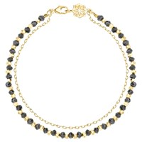 Dower And Hall 18Ct Gold Vermeil Beaded Friendship Bracelet Gold Black Spinel