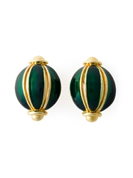 Helena Rubinstein Vintage Glass Ball Earrings Green