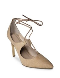 Charles By Charles David Pierogi Microsuede Lace Up High Heeled Pumps Nude