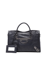 Balenciaga Metallic Edge City With Nickel Hardware In Blue