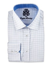 English Laundry Check Jacquard Long Sleeve Dress Shirt Blue