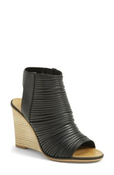 Hinge 'Turner' Open Toe Wedge Bootie Women Black Faux Leather