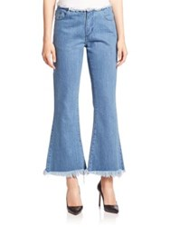 Marques Almeida Frayed Cropped Flared Jeans Stonewash