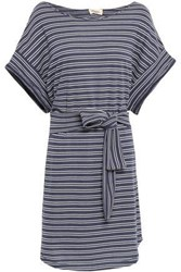 American Vintage Woman Striped French Terry Mini Dress Storm Blue