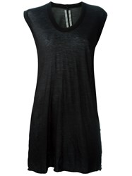 Rick Owens V Neck Sheer Tank Top Black