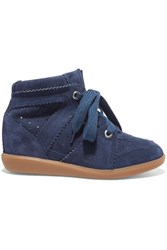 Isabel Marant Etoile Bobby Suede Wedge Sneakers Navy