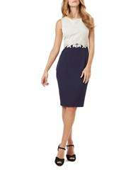 Phase Eight Lace Detail Colorblock Sheath Dress Navy Cream