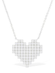 Apm Monaco Silver Pixel Heart Necklace