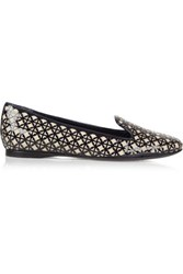 Tory Burch Maura Laser Cut Patent Leather And Canvas Loafers Midnight Blue