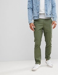 Farah Elm Slim Fit Twill Chino In Military Green 302 Military Green