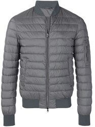 Herno Quilted Bomber Jacket Grey