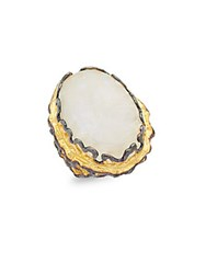 Azaara White Quartz And Yellow Gold Dipped Statement Ring No Color