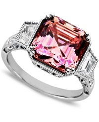Arabella Sterling Silver Ring Pink And White Swarovski Zirconia Princess Cut Ring 10 1 10 Ct. T.W.