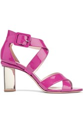 Nicholas Kirkwood Prism Patent Leather Sandals Fuchsia