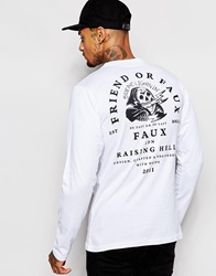 Friend Or Faux Lightening Long Sleeve T Shirt White