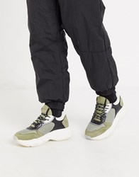 Bronx Baisley Chunky Sole Trainers In Khaki Multi