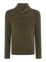 Polo Ralph Lauren Long Sleeve Shawl Neck Sweater Olive