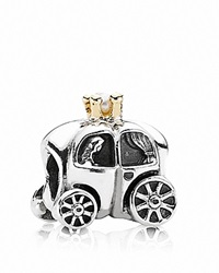Pandora Design Pandora Charm Sterling Silver 14K Gold And Freshwater Pearl Royal Carriage Moments Collection Silver Gold White