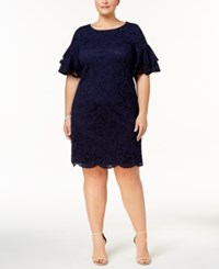 Jessica Howard Plus Size Lace Flutter Sleeve Sheath Dress Navy