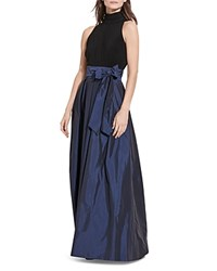 Ralph Lauren Mixed Media Mock Neck Gown Blue Black