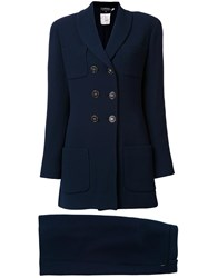 Chanel Vintage Double Breasted Coat Blue