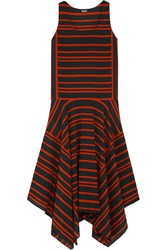 Dkny Striped Silk Crepe De Chine Midi Dress Red