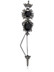 Alexander Mcqueen Maxi Crystal Pin W Crown Detail Silver