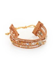 Chan Luu Natural Semi Precious Stone Mix Leather Bracelet