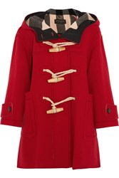 Burberry Oversized Wool Blend Duffle Coat Red