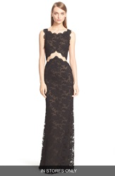 Reem Acra Backless Bateau Neck Embroidered Lace Gown In Stores Only Black