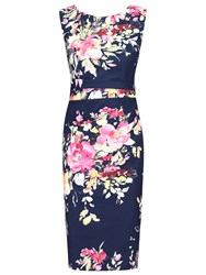 Jolie Moi Floral Print Ruched Shift Dress Navy