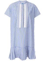 Paul Smith Ps By Striped Drop Pleat Dress Blue