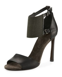 Brunello Cucinelli Leather Monili Ankle Cuff Sandal Black