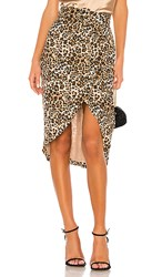 Nicholas Drape Skirt In Brown. Leopard
