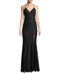 Fame And Partners Weiss V Neck Strappy Lace Dress Black