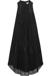 Haute Hippie Romance Lace Trimmed Silk Chiffon Dress Black