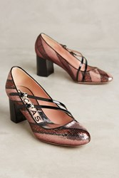 Anthropologie Rochas Sequined Double Strap Pumps Neutral Motif
