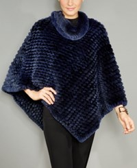 The Fur Vault Knitted Rabbit Poncho Black Blue