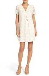 Eci Women's Floral Lace Shift Dress Ivory