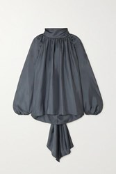 Tove Rey Tie Detailed Gathered Silk Twill Blouse Anthracite