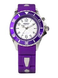 Kyboe Power Purple Silicone And Stainless Steel Strap Watch 40Mm